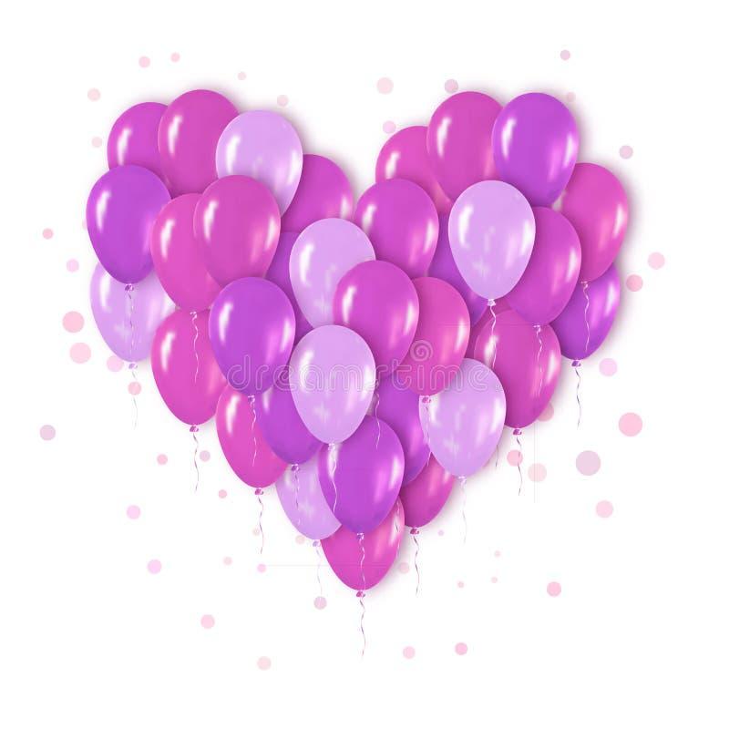 Manojo realista púrpura del corazón 3d de Mettalic de globos que vuelan para el partido stock de ilustración