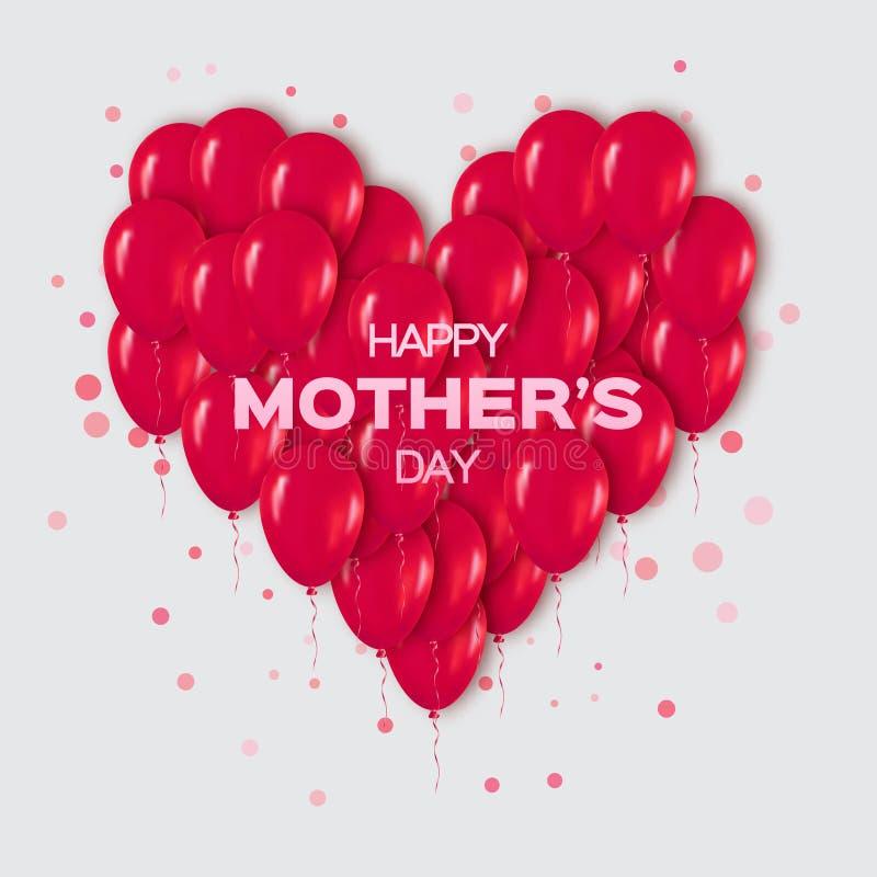 Manojo rojo realista del corazón 3d de globos que vuelan para el partido y las celebraciones con confeti ilustración del vector