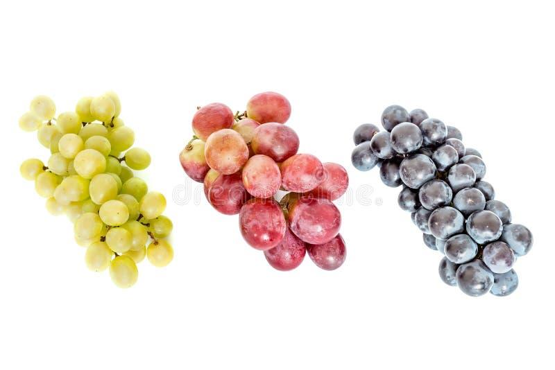 Manojos de uvas verdes y azul marino rojos aisladas en blanco fotos de archivo
