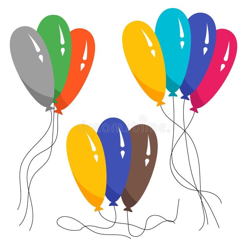 Manojos de varios globos del helio del color libre illustration