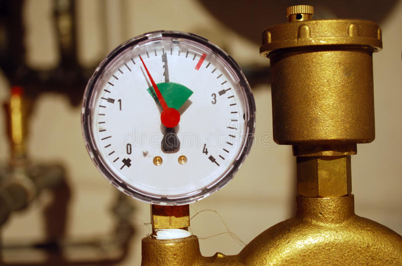 Manometer. As part of a central heating stock photography