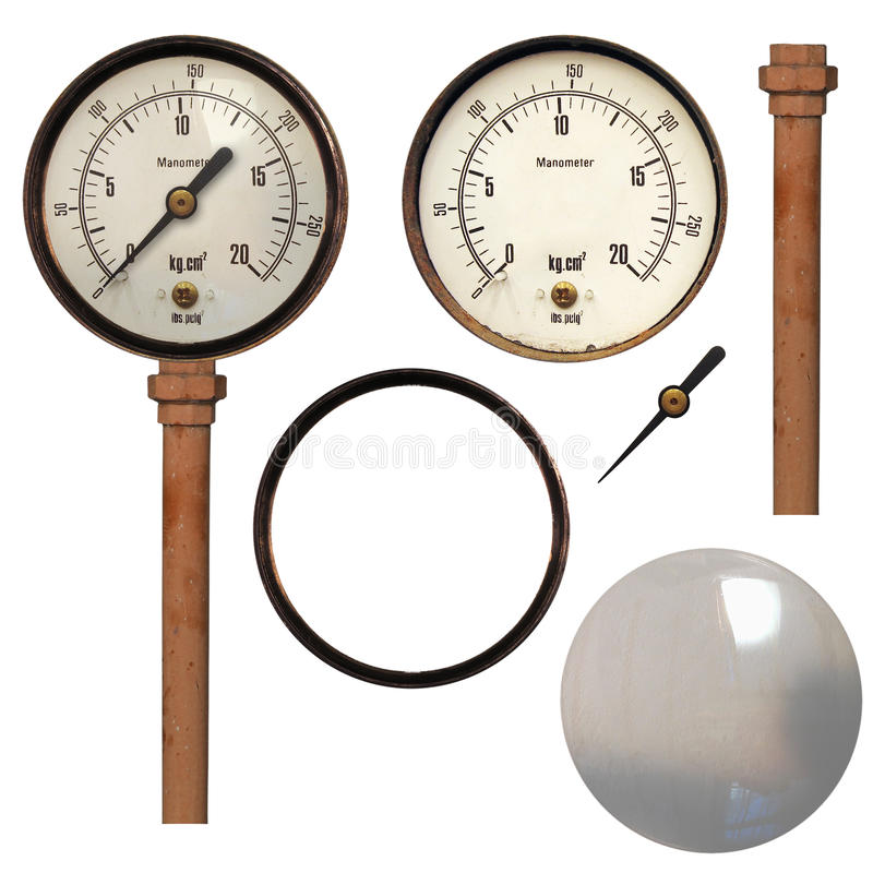 Manometer. Also known as steam or vaccum gauge, instrument for pressure measurement royalty free stock photography