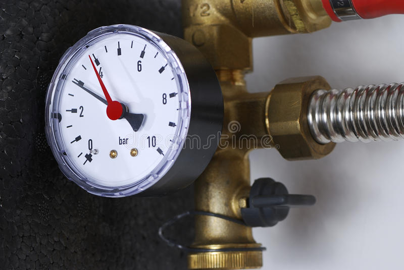 Manometer. Of a heating system stock images