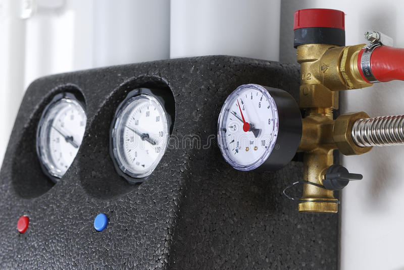 Manometer. Of a heating system royalty free stock photography