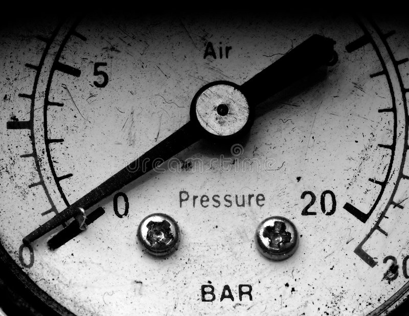 Manometer. Old vintage manometer with the needle on zero royalty free stock image