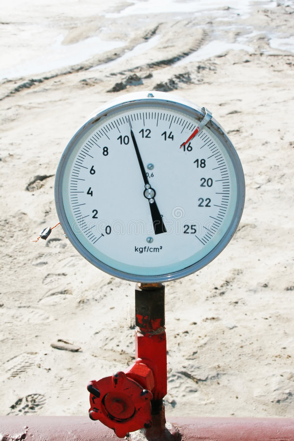 Manometer. On a oil pipeline royalty free stock photography