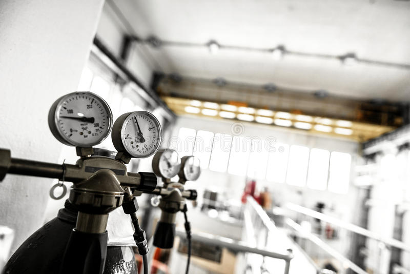 Manometer of an air compressor. Closeup photo royalty free stock images