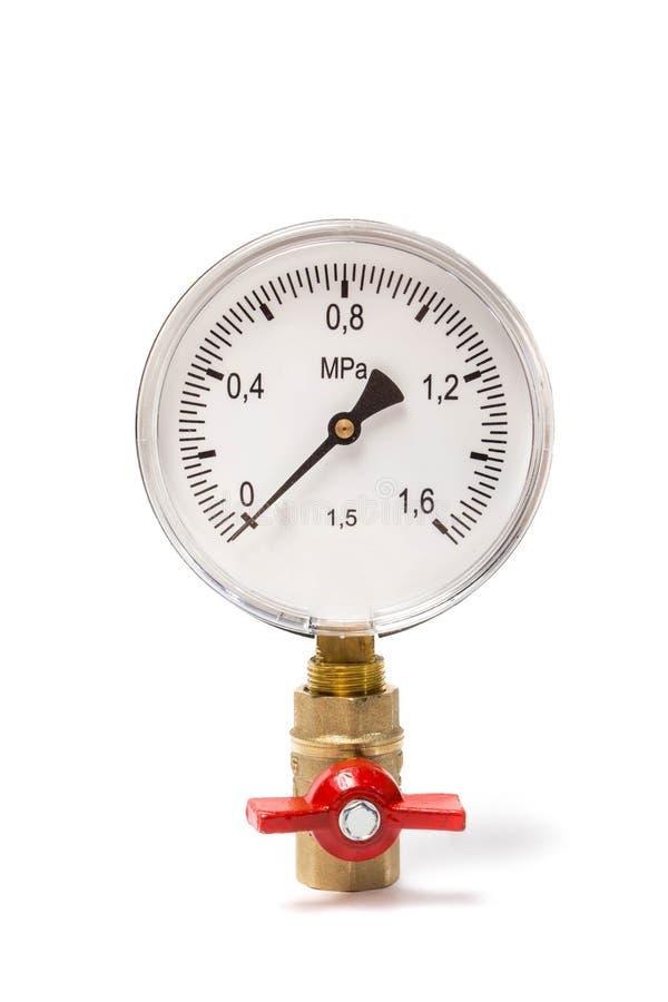 Manometer angeschlossen an das Kugelventil Getrennt auf weißem Hintergrund stockbilder