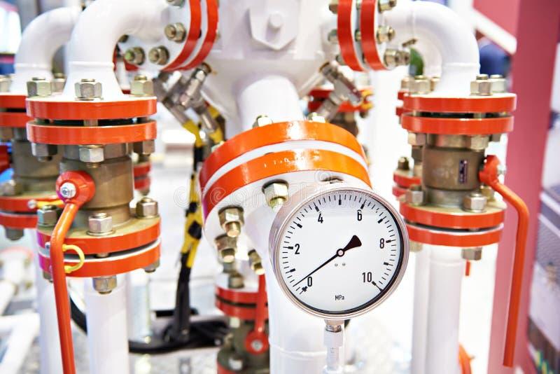Manometer op olie en gasmengsel die eenheid meten stock foto