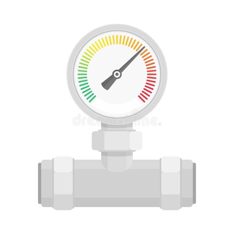 Manometer op pijp royalty-vrije illustratie