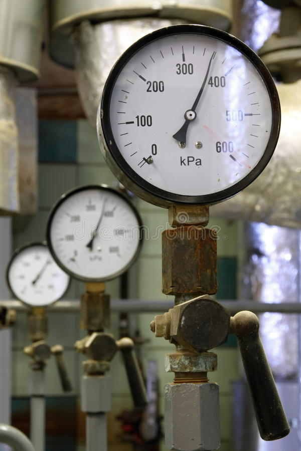 Manometer pressure. Gas line with valve royalty free stock images