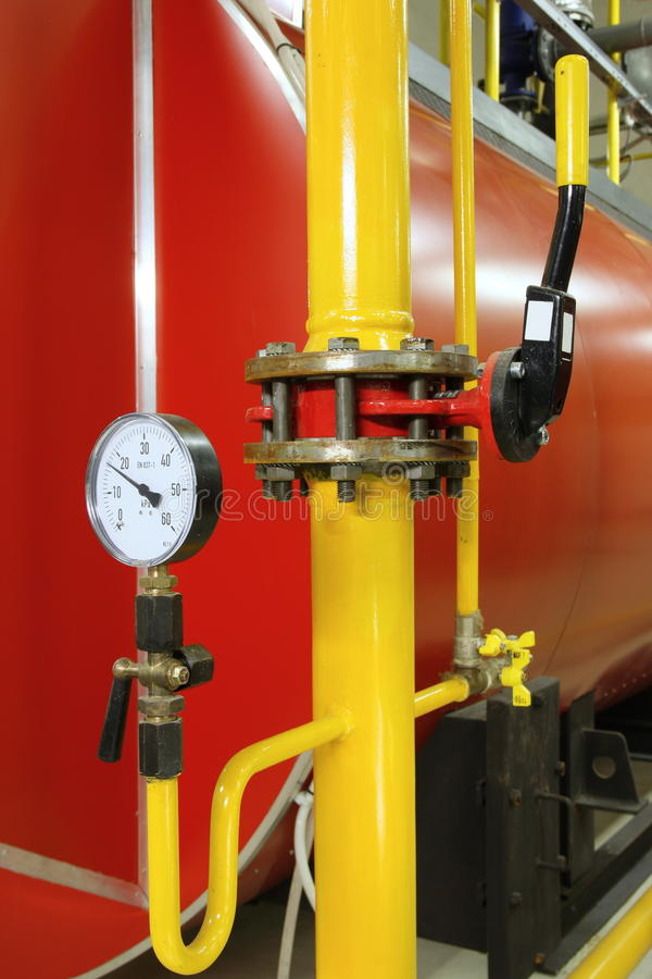 Manometer pressure. Gas line with valve stock photography