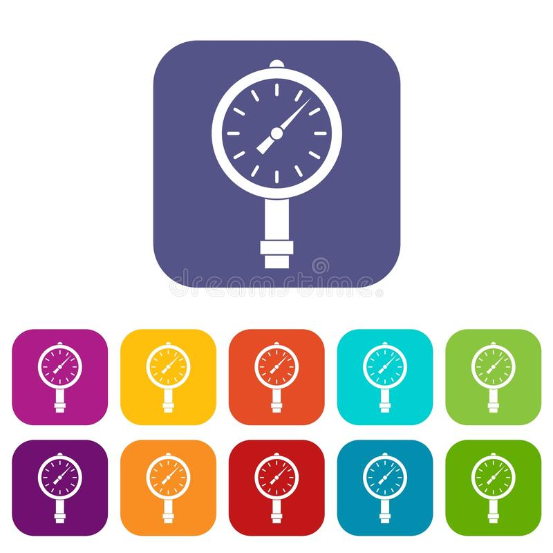 Manometer or pressure gauge icons set flat royalty free illustration