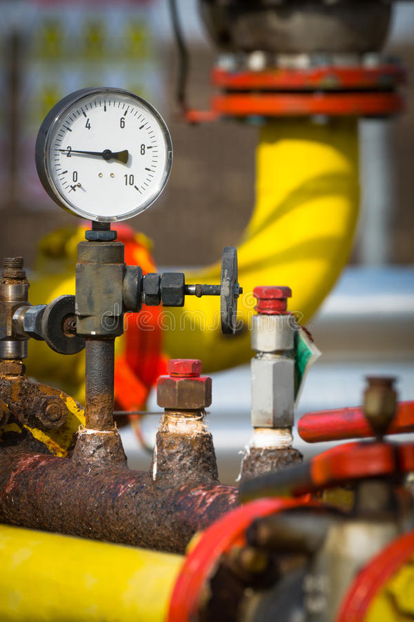 Manometer pressure. On the oil and gas industry stock image