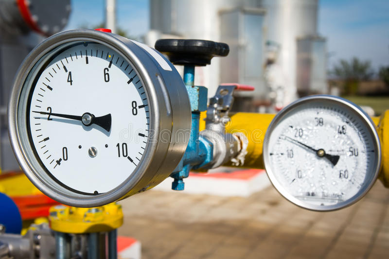 Manometer pressure. On the oil and gas industry royalty free stock photos