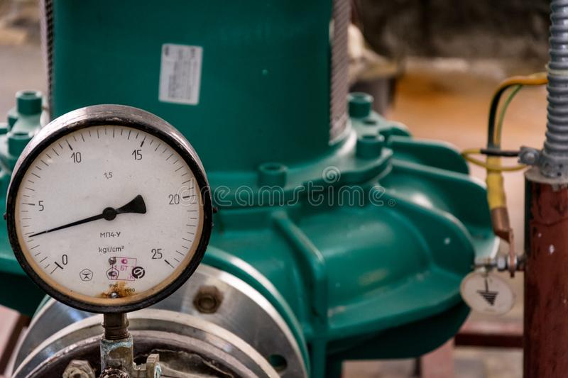 Manometer of pumping equipment royalty free stock photos