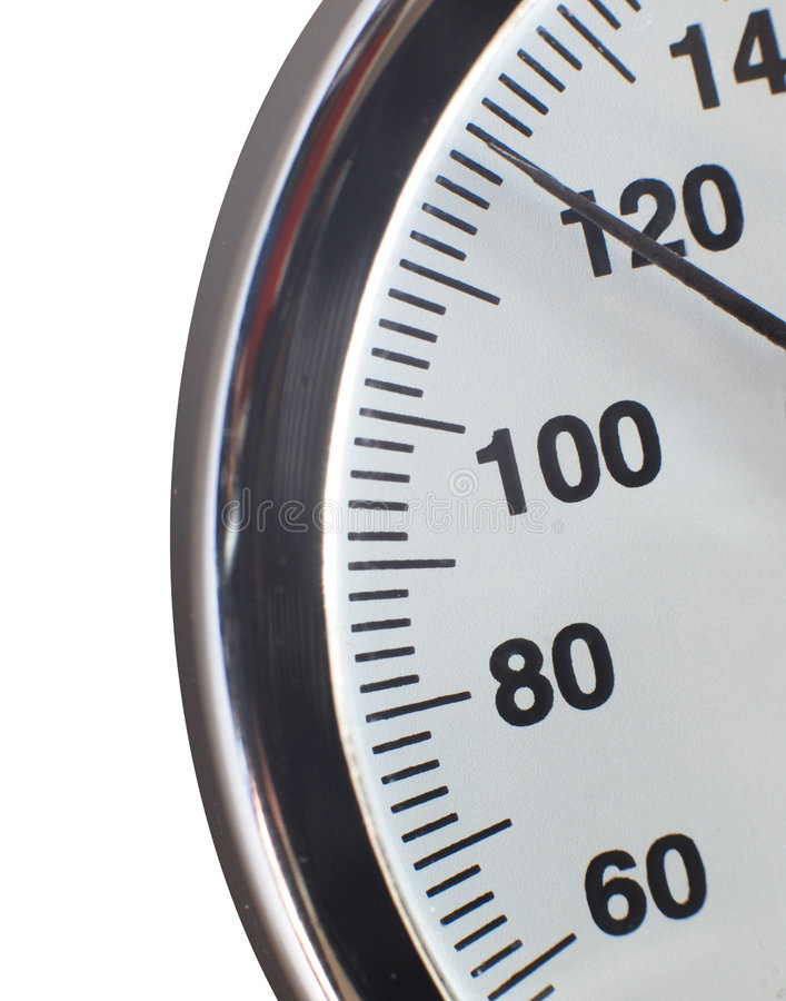 Manometer scale. Pointer of manometer scale point at 120 stock photography