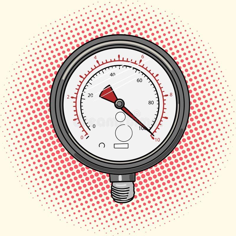 Manometer som mäter apparathumorboken royaltyfri illustrationer