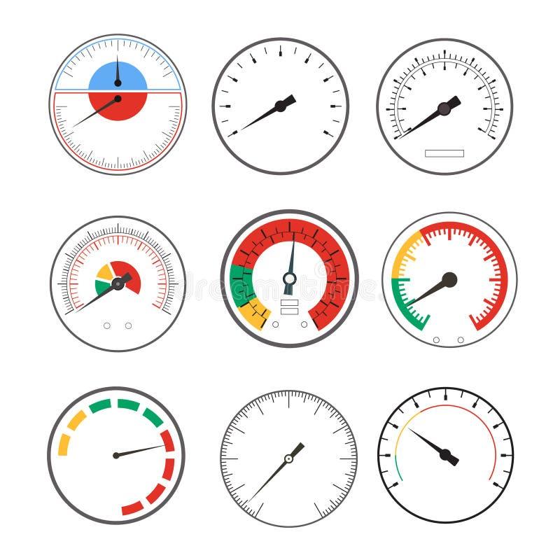 Manometer Temperature Gauge Devices Set. Vector vector illustration