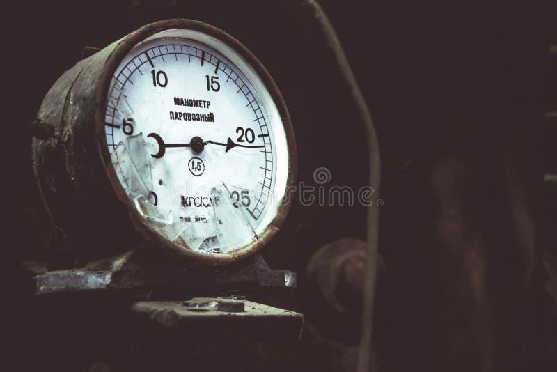 Manometr lokomotywa mechanizm dla mierzyć zdjęcie stock