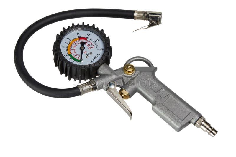 Manometro del manometro della gomma della bici dell'automobile per il gonfiatore della pompa di aria immagine stock libera da diritti