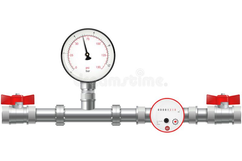 Manometro industriale di pressione sul tubo del metallo royalty illustrazione gratis