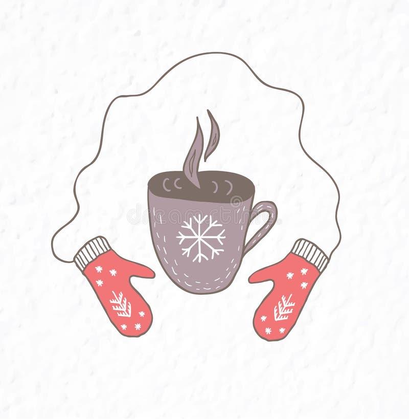 Manoplas y taza de té o de café caliente Estilo escandinavo minimalista ilustración del vector