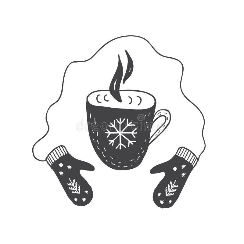 Manoplas y taza de té o de café caliente Estilo escandinavo minimalista El gráfico para los niños carda, impresión para la camise libre illustration