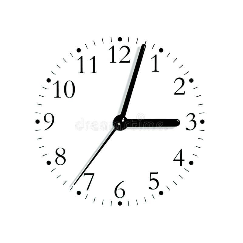 Manopola analogue bianca nera del fronte di orologio, isolata fotografia stock libera da diritti