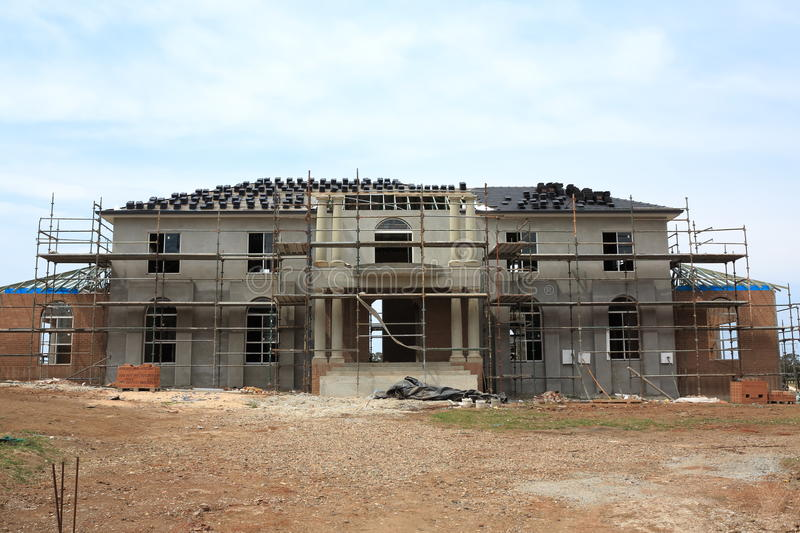 Manor house construction. Building process of a modern manor house in the final stages (in Australia) royalty free stock image