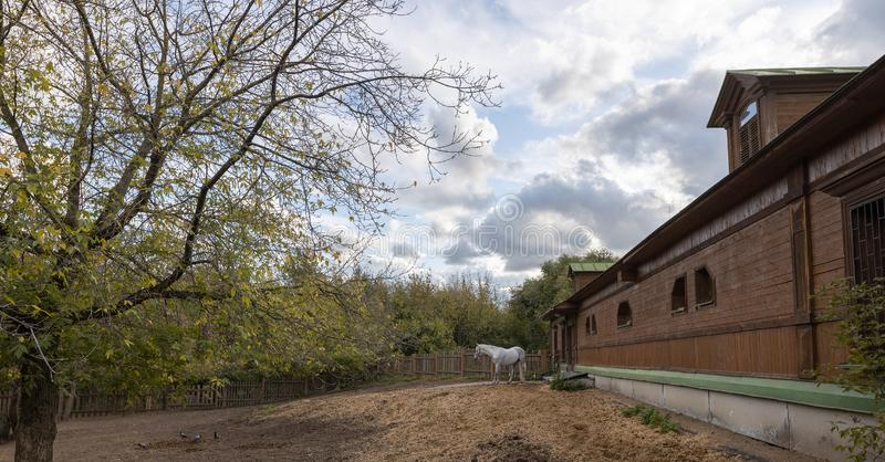 Stable yard in the Museum-reserve Kolomenskoye. Manor house with exhibition rooms and saddlery workshop, a shed for storing harness and wagons, a complex of stock photography