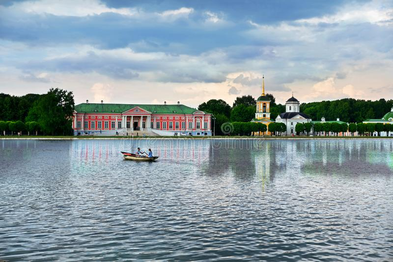 Manor house Kuskovo on the shore of a large palace pond. Moscow, Russia, May 26, 2019. Manor house Kuskovo - former estate graphs Sheremetev. Located in the east stock photography