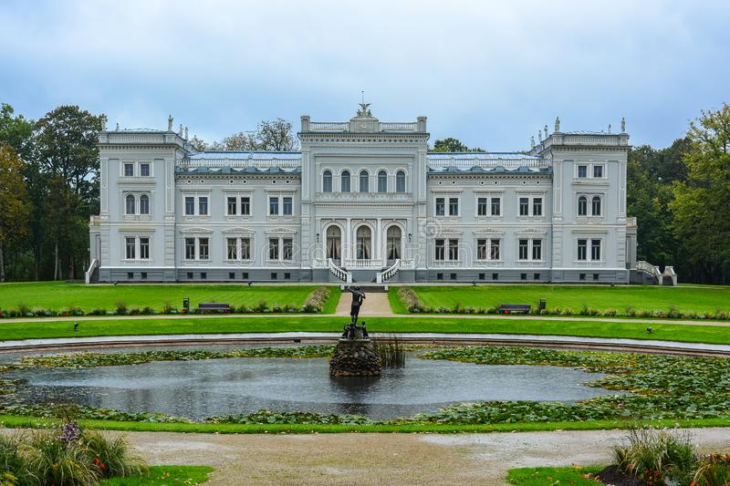 Manor house, palace with park of Duke Oginskis in Plunge, Lithuania. PlungÄ— manor homestead in neo-renaissance. Style stock photography