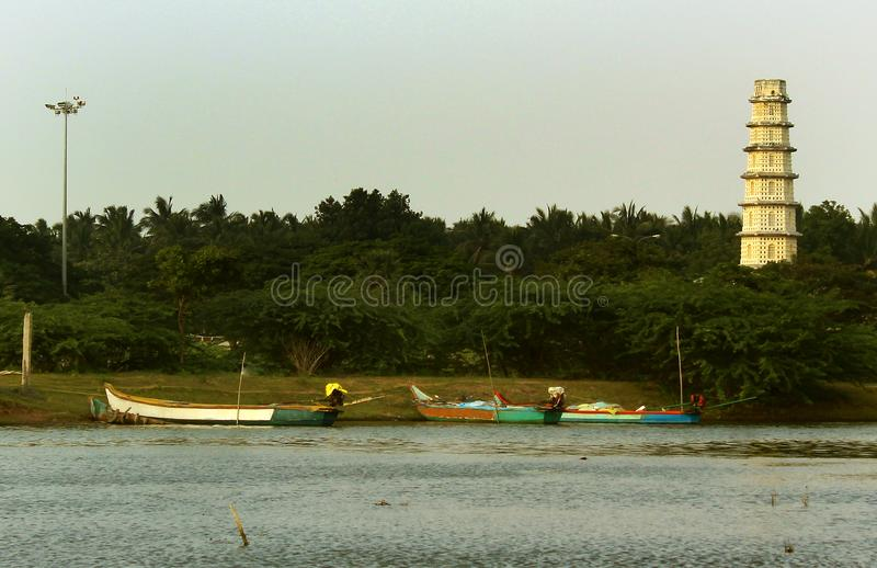 Manora fort tower with small fisher mans harbor. stock image