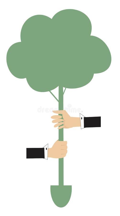 Manos, árbol, ejemplo del concepto de la espada libre illustration