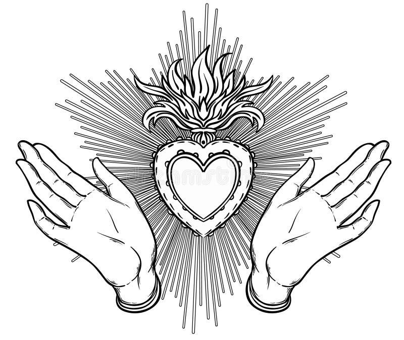 Manos abiertas de la hembra alrededor del corazón sagrado de Jesús Fe de la esperanza y h ilustración del vector