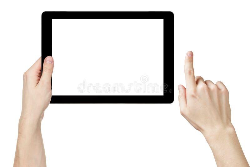 Manos adultas del hombre usando la PC genérica de la tableta con la pantalla blanca fotografía de archivo libre de regalías