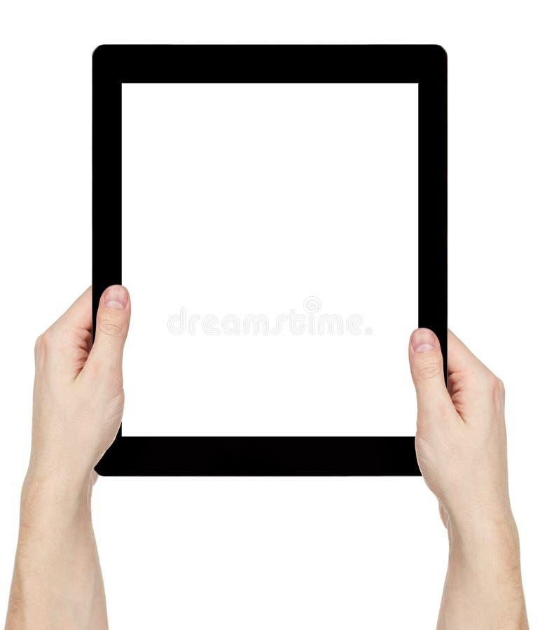 Manos adultas del hombre usando la PC genérica de la tableta con la pantalla blanca foto de archivo libre de regalías