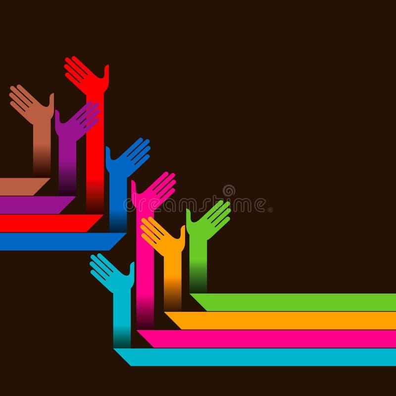 Manos amigas de diversos colores stock de ilustración