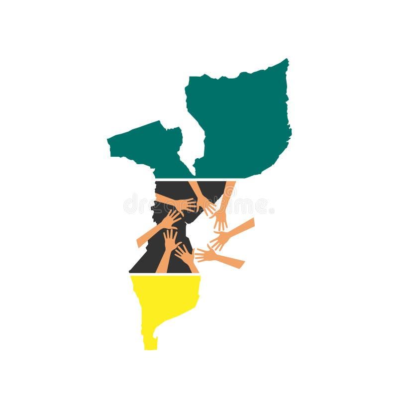 Manos amigas del mapa de Mozambique stock de ilustración