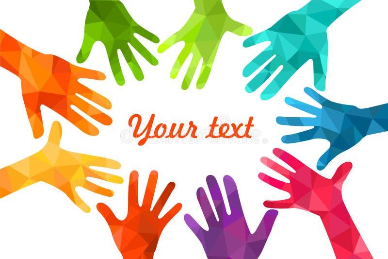 Manos ascendentes coloridas Vector el ejemplo, un celation de los associers, unidad, socios, compañía, amistad, fondo Volunteebr  fotos de archivo libres de regalías