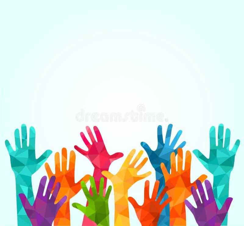 Manos ascendentes coloridas Vector el ejemplo, un celation de los associers, unidad, socios, compañía, amistad, fondo Volunteebr  fotografía de archivo libre de regalías