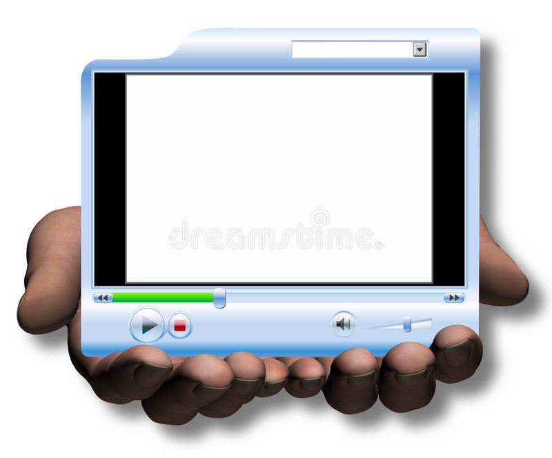 Manos asimiento y presentación del vídeo de Media Player de la oferta libre illustration
