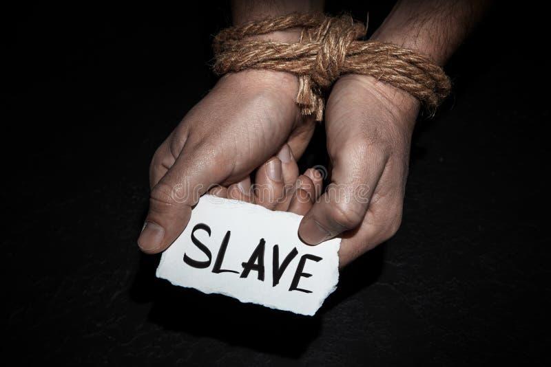 Manos atadas con la cuerda en hombre El concepto de esclavitud o rehén, restricción de la libertad imágenes de archivo libres de regalías