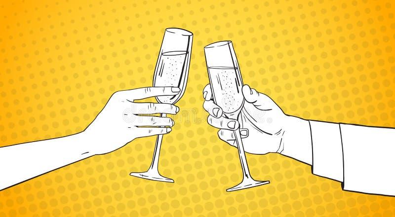 Manos bosquejadas de los pares que tintinean el vidrio de Champagne Wine Toasting Pop Art Pin Up Background retro stock de ilustración