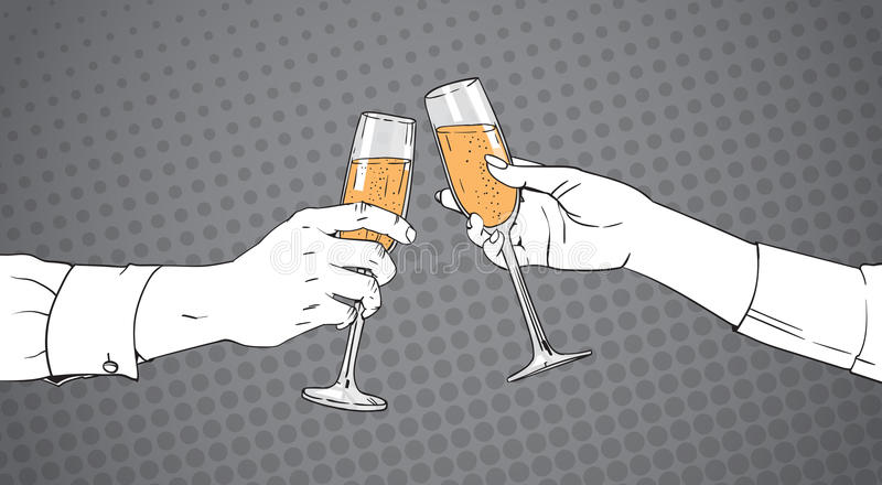 Manos bosquejadas de los pares que tintinean el vidrio de Champagne Wine Toasting Pop Art Pin Up Background retro libre illustration