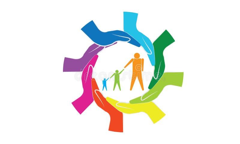 Manos coloridas alrededor del concepto de la familia y del cuidado de la familia ilustración del vector