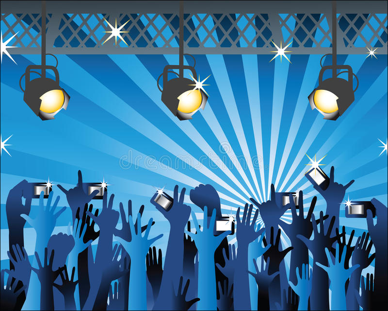 Manos con camers en el concierto 2 ilustración del vector