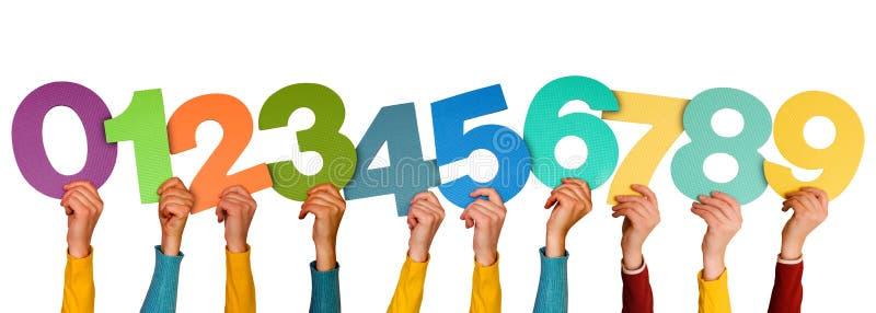 manos con diversos números stock de ilustración