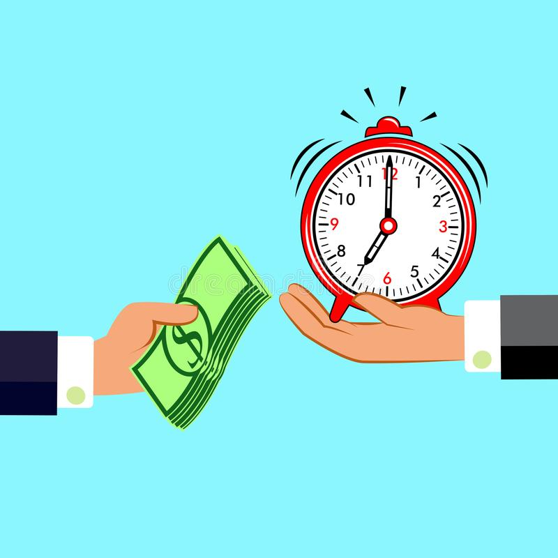 Manos con el dinero y el reloj Intercambiar concepto Estilo plano del diseño Gestión de tiempo stock de ilustración